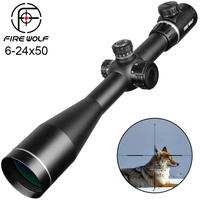 Fire Wolf 6 24X50 Scope Sight Adjustable Red Green Cross Hunting Riflescope Glass Reticle Turrets Lock Reset Tactical Optical