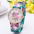 Classical Floral Pattern Quartz Watch Women Casual Leather Dress Watches Clock Wristwatches Ladies Relogio Feminino 2016 Hot