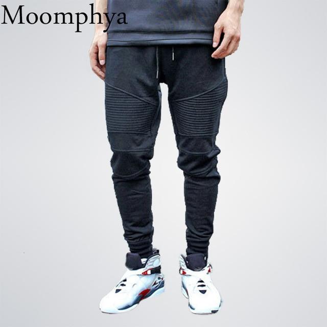 26cde4d56 Moomphya Sweatpants Pleated Simple Men Pants Smart Casual Trousers Men  Cotton Joggers Pants Cozy hip hop Pants
