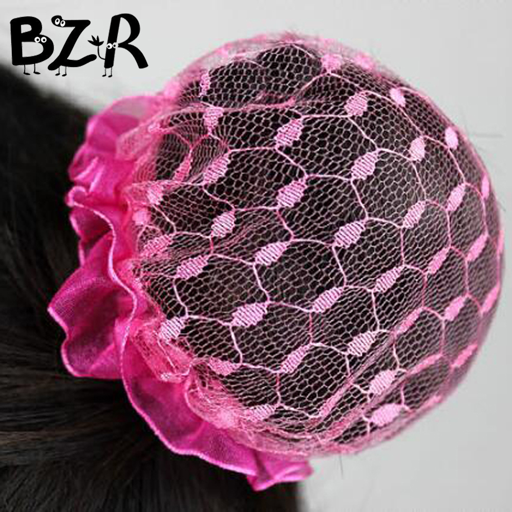 Bazzery Girls Kids Ballet Dance Hairnet Lady Woman Hair Accessories Headdress Solid Color Satin Hair Clip Snood 5pcs/lot