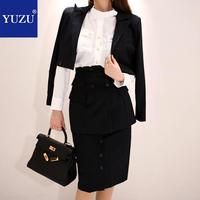 Business Suits Ladies 3 Piece Set 2018 Women Blazer Black Stripes Jacket Work Outfit + Office Short Skirt + Knee length Skirt