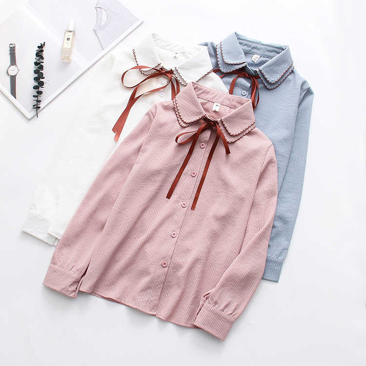 Nuevo volantes Mujer Camisas de rayas blanco blusas con lazo de camisa de manga larga mujeres Otoño de gasa camisa blusa Top Mujer