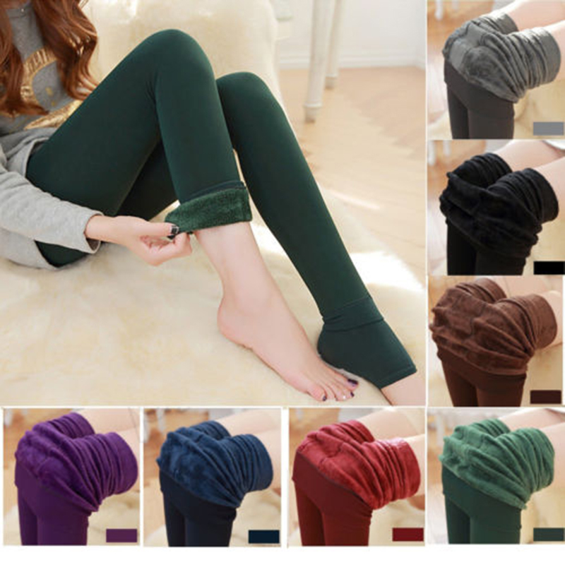 New Causal Women Tights Solid Winter Thick Warm Fleece Lined Pantyhose High Waist Female Thermal Stretchy Slim Skinny Tights