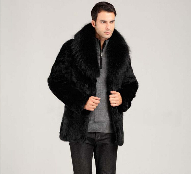 Fashion 2017 Winter Men S Faux Rabbit Fur Coat With Fox