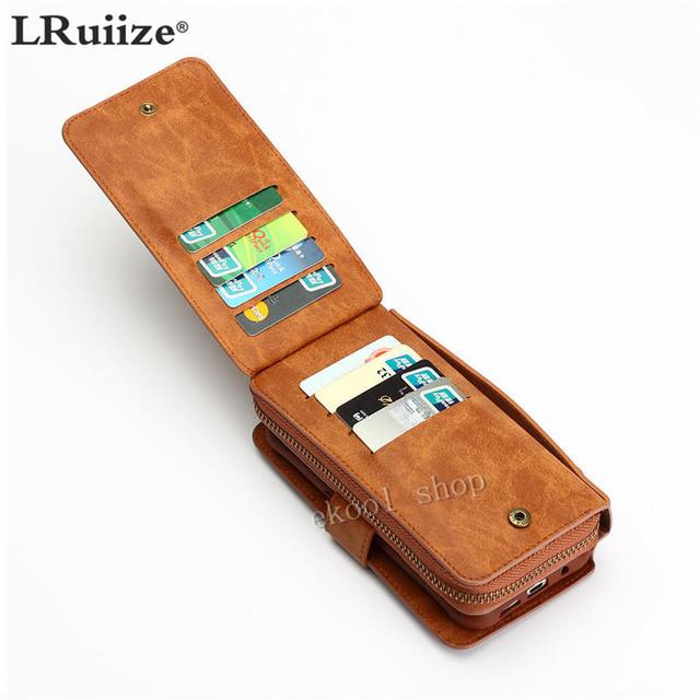 LRuiize Retro Multifunções Carteira de Couro Caso de Telefone Celular Capa Bumper caso Bolsa Para Samsung Nota 8 5 S6 S7 S8/Edge/Plus S5S4