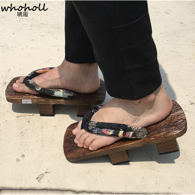 ab60d84eb7c WHOHOLL Geta Summer Sandals Man Flip-flops Two-toothed Platofrm Japanese  Wooden Clogs Shoes Men Indoor Sandals Plus Size 34-47