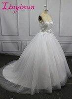 Ballkleid Glänzende Perlen hochzeit kleid 2018 Schatz-weißer Tüll casamento brautkleid robe de mariage Vestido de noiva