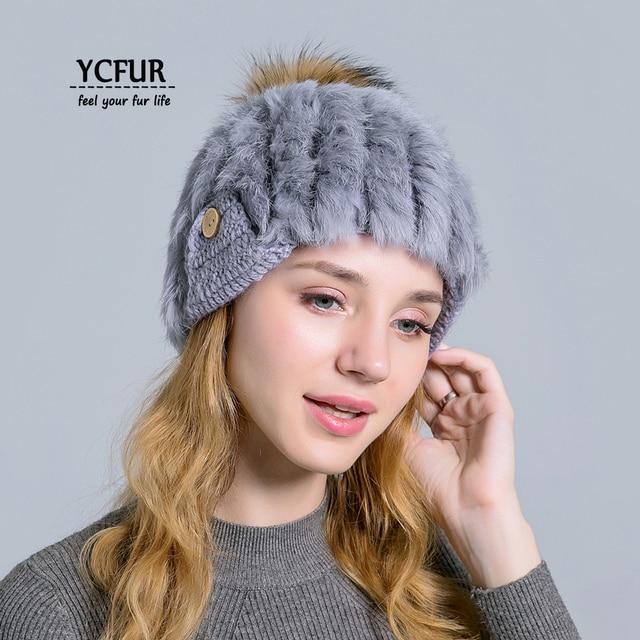 YCFUR Cute Girls Hats Beanies Winter Warm Knit Rabbit Fur Hat Wool Cap For  Women Raccoon Dog Fur Pom Hats Beanies Female 20e1eca78c2