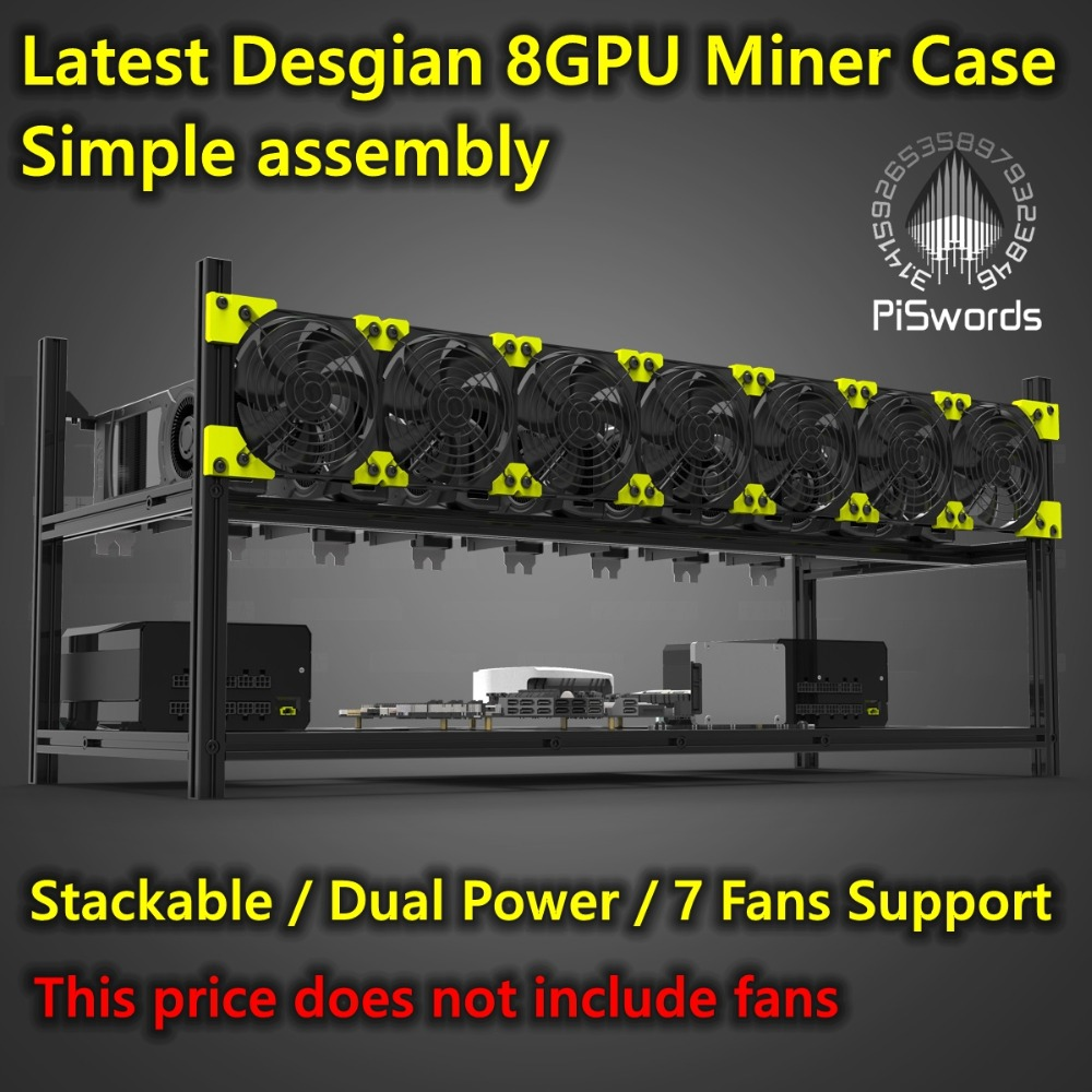 Crypto Coin Aluminum Compact Open Air Mining Rig Frame Case 4//5 GPU ETH BTC ZEC