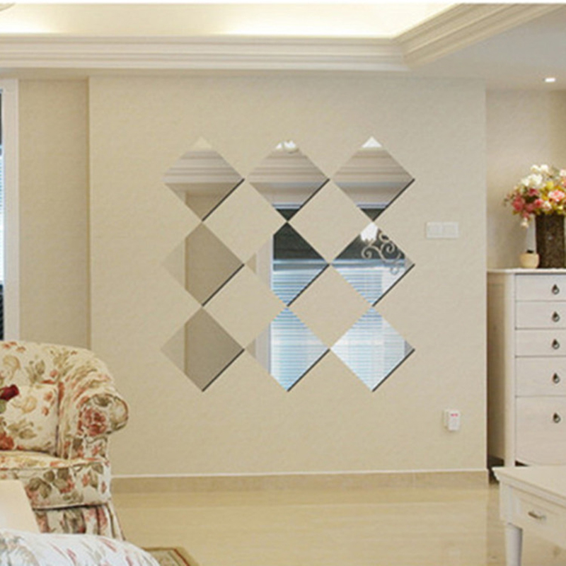6 15 15cm Gold Square Mirror Wall Stickers Plastic Modern Home