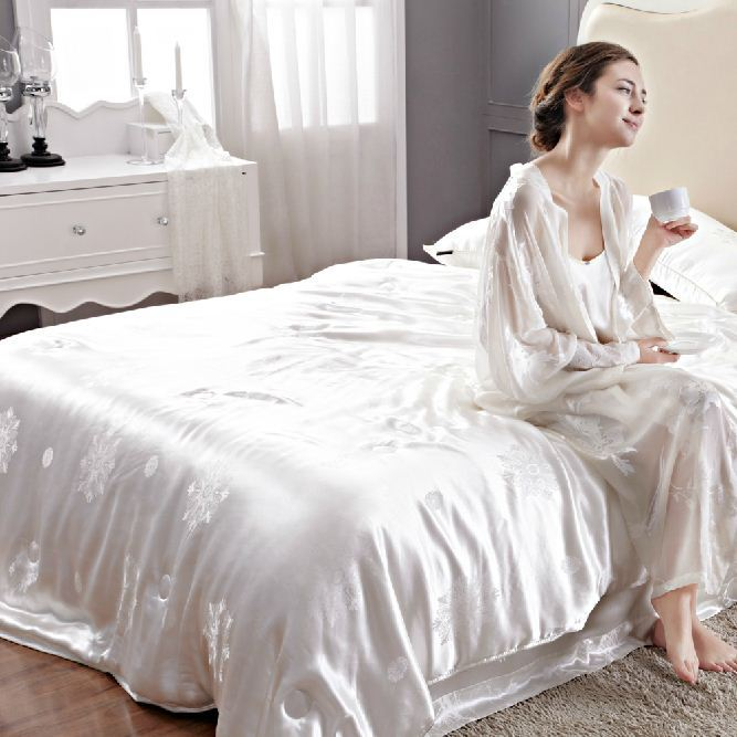 Lovely 100% Mulberry Silk 22 Mm Seamless White Champagne Pink Jacquard King Queen  Flat Sheet Duvet Cover 4 Pieces Set Customize MS04 In Bedding Sets From  Home ...