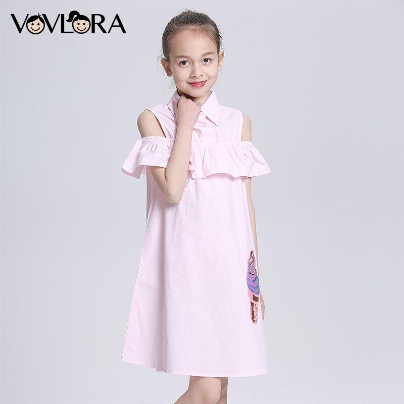 Sukienka dziecięca ruffles Ramię bawełna bez rękawów dziewczyny - Ubrania dziecięce - Zdjęcie 3