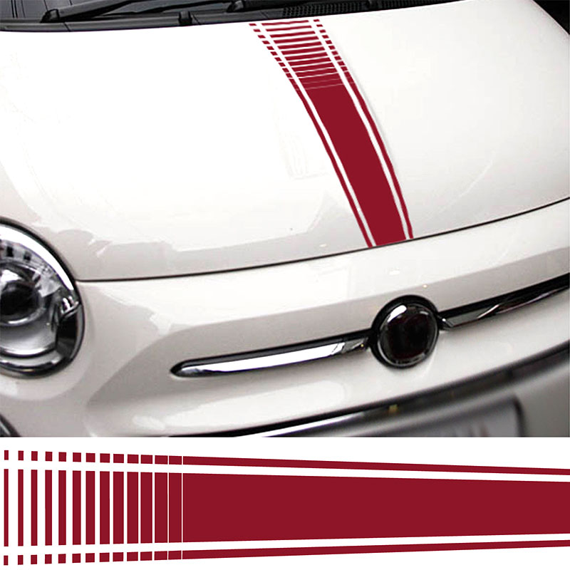 for Fiat 500 Abarth Car Bonnet Stickers Italian Flag decal graphic stripe Grande da4-0009