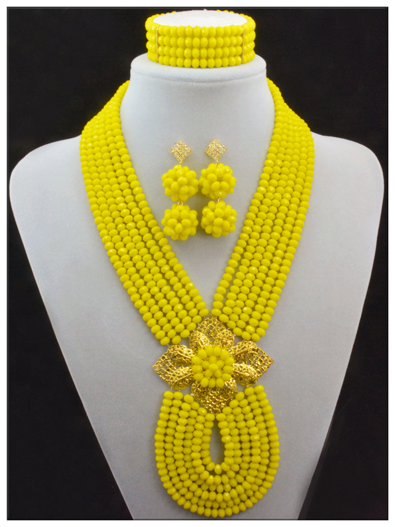Latest New African Wedding Beads Bridal Jewelry Sets Handmade ...