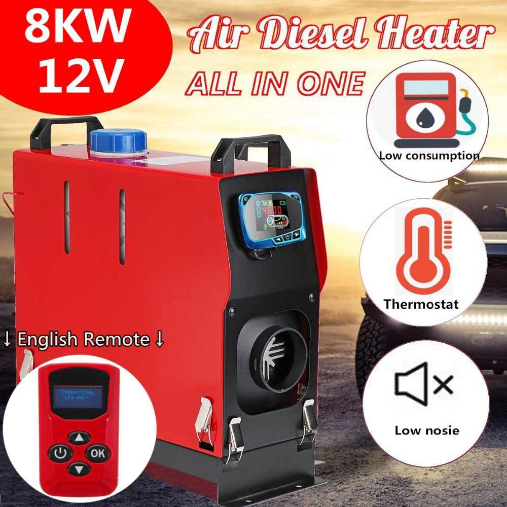 8000W Air diesels Heater 8KW 12V 1 Hole Car Heater For Trucks Motor-Home Boats Bus +LCD key Switch + Silencer +English Remote