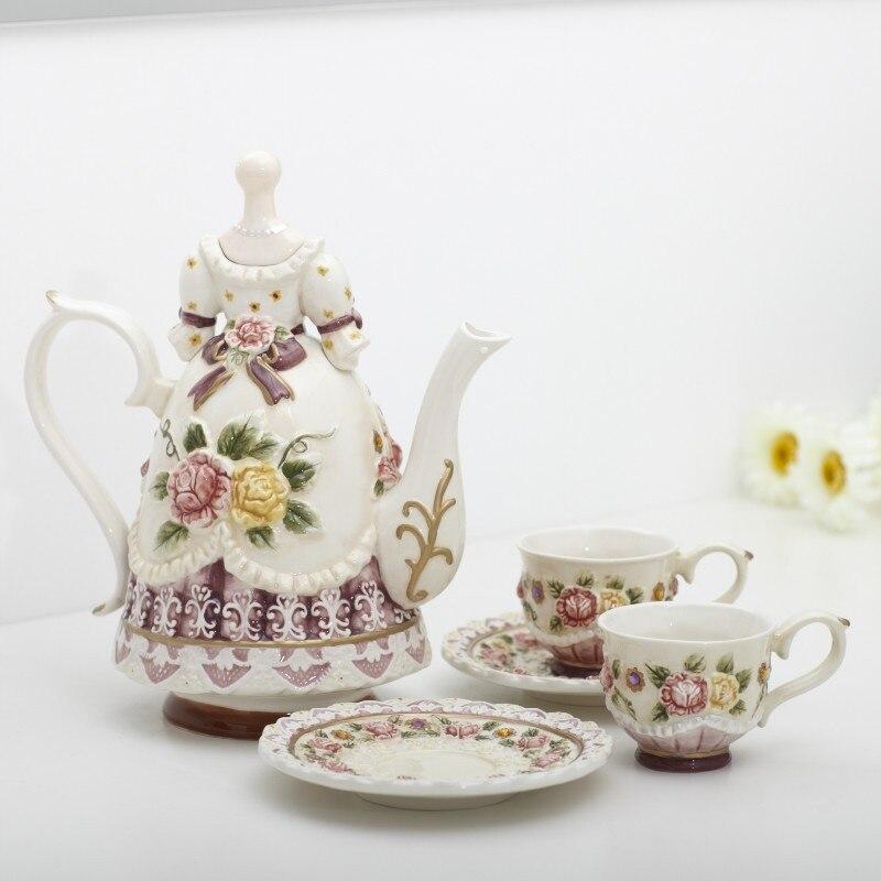 ceramic Bone China Coffee Tea Sets Coffee pot and cup Wedding decoration home decor crafts room decoration porcelain figurine