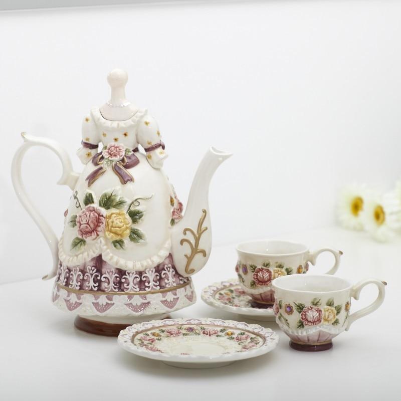 Ceramic Bone China Coffee Tea Sets Coffee Pot And Cup Wedding Decoration Home Decor Crafts Room