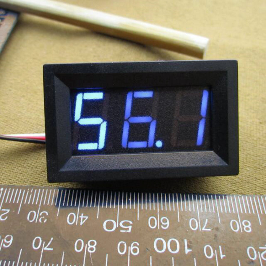 <font><b>10pcs</b></font> LED Vehicles Motor New 0-100V Blue Mini Digital <font><b>Voltmeter</b></font> Voltage Panel Meter 48*29*21mm image