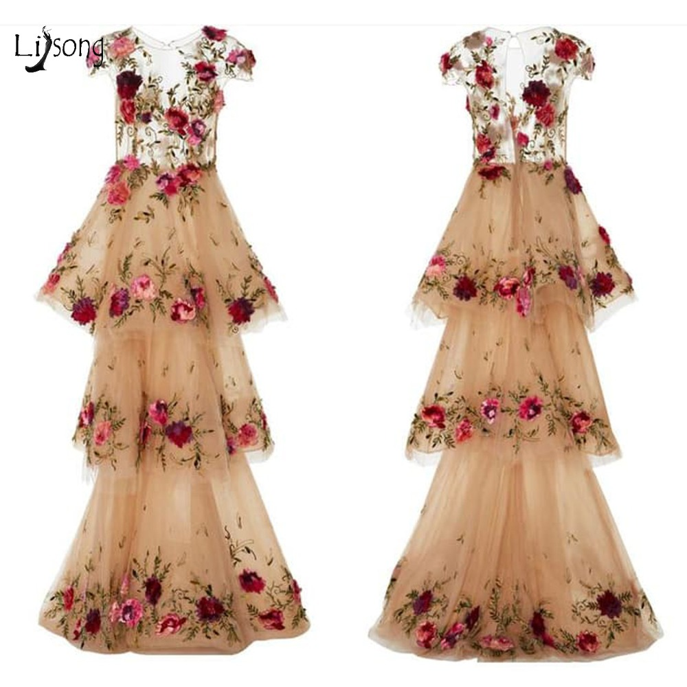 Pretty Champagne Floral Tiered Long   Prom     Dresses   2019 Lace Ruffles 3D Flower   Prom   Gowns Sexy Illusion Formal Party   Dress   Abiye