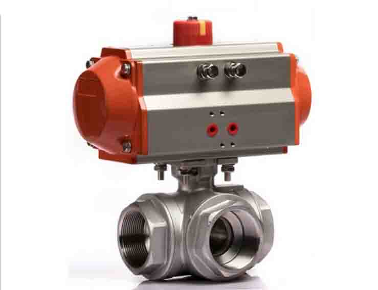 1 1/4 inch  pneumatic operated stainless steel 3 way pneumatic ball valve 1 inch 2 pieces pneumatic operated stainless steel ball valve