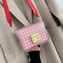 ETAILL 2019 Fashion PVC Jelly Bag Women Small Transparent Plaid Flap Shoulder Handbags Wide Strap Crossbody Messenger Bag цены