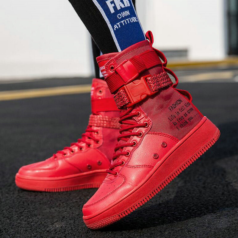 Men's Shoes New Fashion Men Shoes Boots Sneakers High Top Casual Flats Shoes Male Hip-hop Mid Calf Boots Shoes Boys Buckle Shoes Pp-38