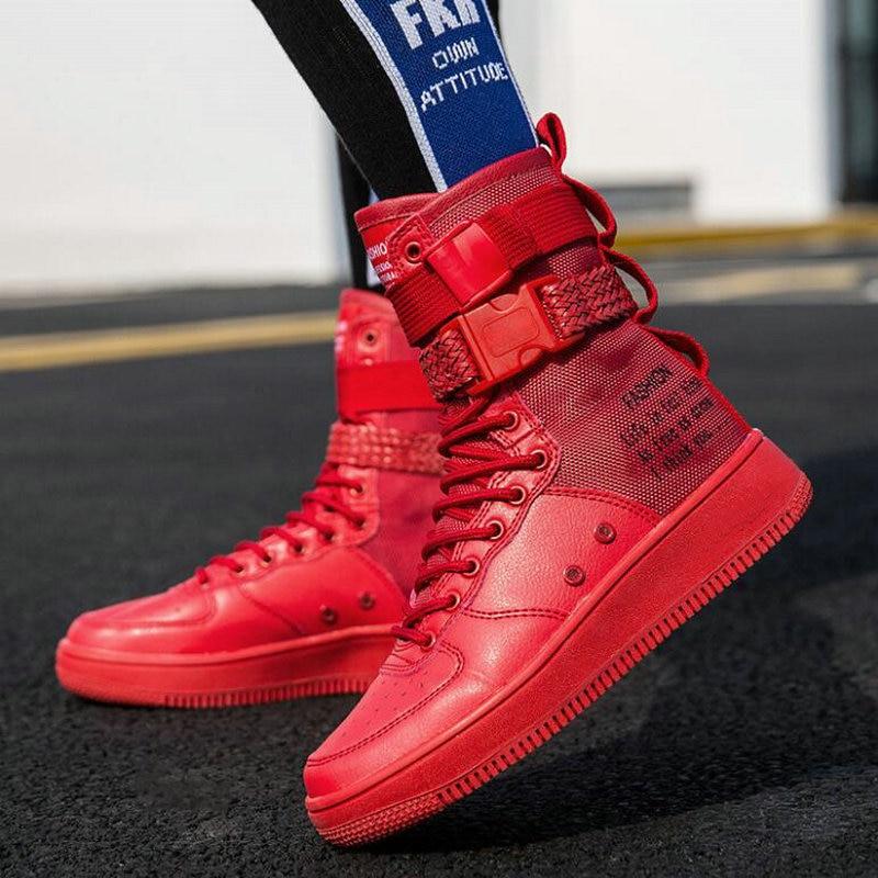 Baskets Mode Casual Chaussures 3737 Nouvelles Marche De blanc orange Haut Pp mollet Femmes Dames Bottes Hip hop rouge Noir Mi Sneakers Appartements dessus Zq6wEqU8