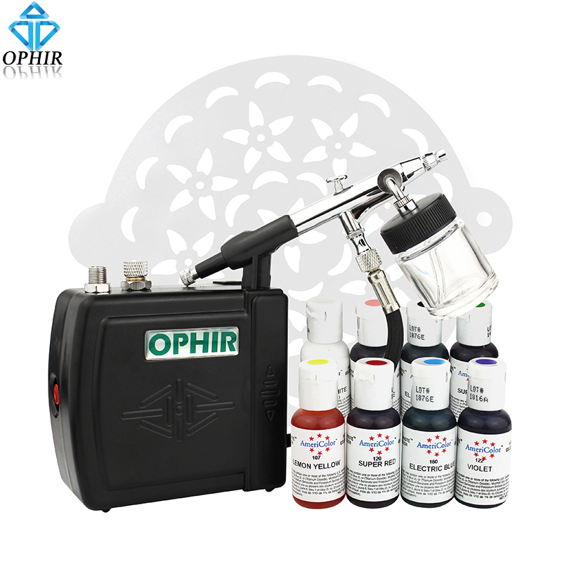 OPHIR Cake Airbrush Kit with Air Compressor Edible Pigment & Cake Stencils Air-brush Gun Paint for Cake Decorating Food Coloring ophir 0 4mm single action airbrush kit with 5 adjustable mini air compressor cake airbrush gun for makeup body paint ac094 ac007
