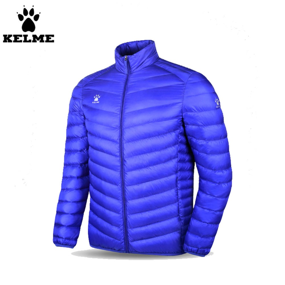 Kelme K15P021 Men Long-sleeved Stand Collar Warm Lightweight Down Jacket Blue kelme