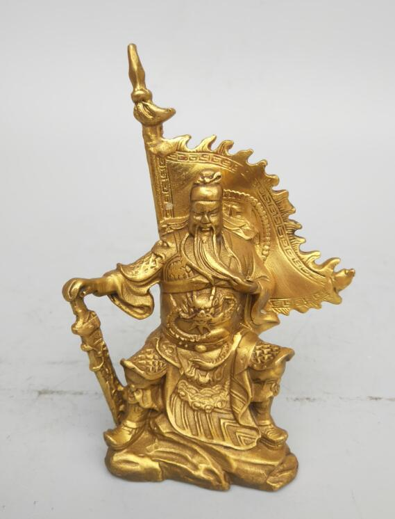 China's Seiko Carving Pure Brass Guan Gong Small Statue