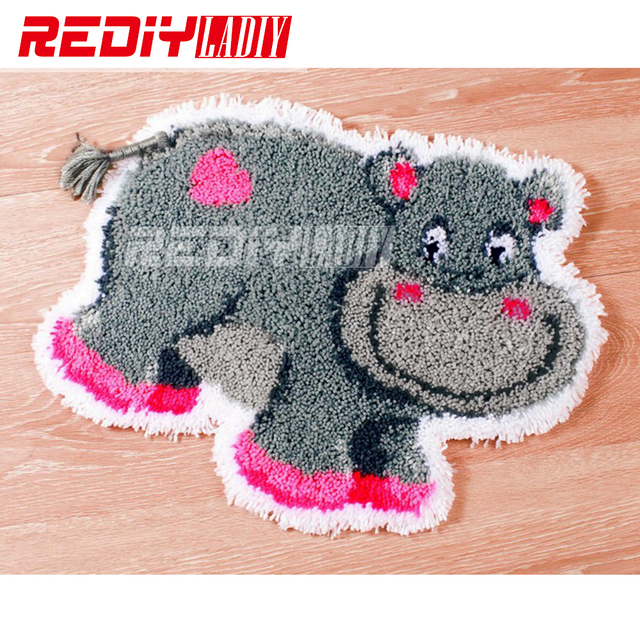 Latch Hook Rug Kits Diy Needlework Unfinished Crocheting Yarn Cushion Mat Hy Hippo Embroidery
