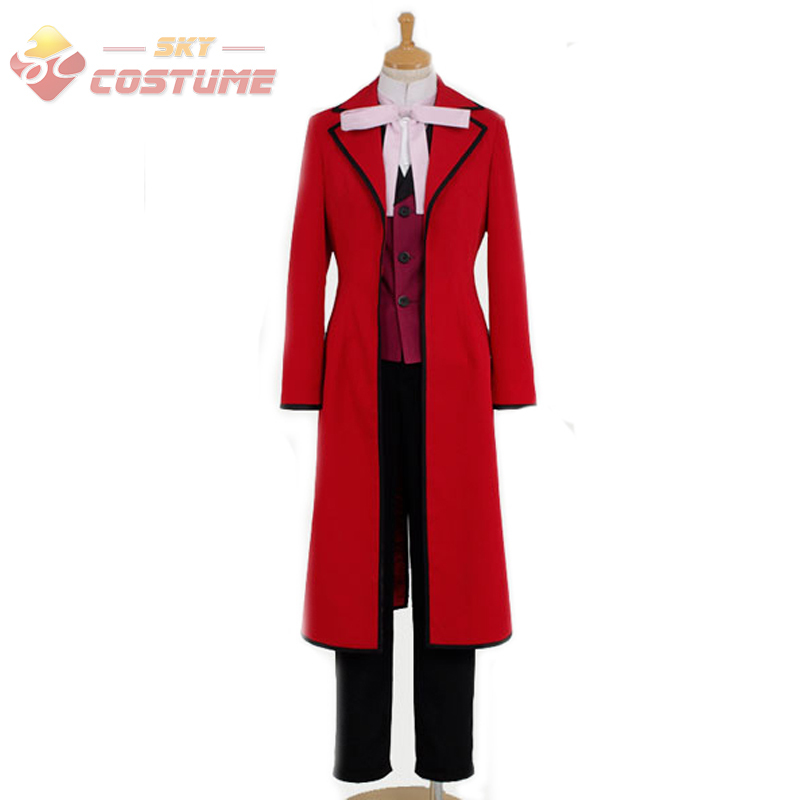 Black Butler Cosplay Shinigami Grell Sutcliff Costume Red Uniform Full Set Halloween Cosplay Costume For Men Free Shipping