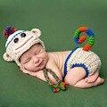 Mono recién nacido trajes clothing sets fotografía apoyo de la foto hecha a mano de punto traje gorras pantalones jirafa de lana gorros briefs