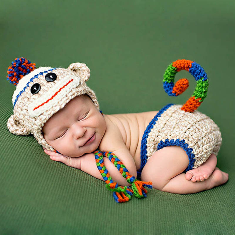 Newborn Monkey Outfits Photo Prop Handmade Knitted Clothing Sets Photography Costume Caps Pants Giraffe Woolen Beanies Briefs
