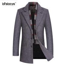 BFSBOYS brand 2017 New Men's casual Long Wool Blends New Male Single Breasted woolen coats outwear Windbreaker free ship M-3XL
