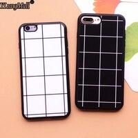 Simple Style Fundas Coque Soft Silicone Case for iphone 6 6s 6plus X 5s 5 SE 7 8 plus Phone Cases Black and white lattice Cover