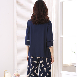Image 5 - 女性素敵な摩耗レジャー服人格春夏白ウサギのプリント 3 四半期の女性のパジャマ女性パジャマセット
