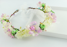 Фиолетовый бежевый цвет Богемия невесты Искусственный Цветок свадьба корона Цветочные повязка праздничная вечеринка Принцесса корона венок
