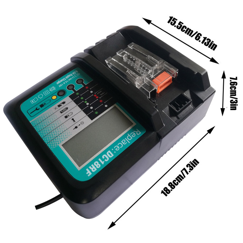 DC18Rf 6.5A 14.4 V 18 V Li-Ion chargeur de batterie tension affichage numérique de courant pour Makita Bl1830 Bl1815 Bl1430 Dc14Sa ventilateur de refroidissement
