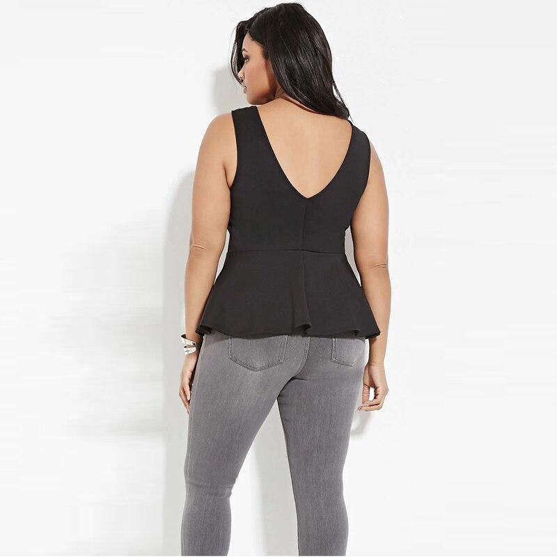02 km P093 slim waist tunic women tank top plus size sexy black fashion backless (1)
