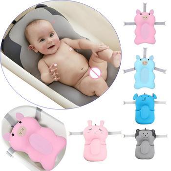 Banheira dobrável do bebê com ganchos dos desenhos animados banheira de banho de chuveiro de bebê antiderrapante recém-nascido bathseat infantil almofada de apoio de banho macio travesseiro