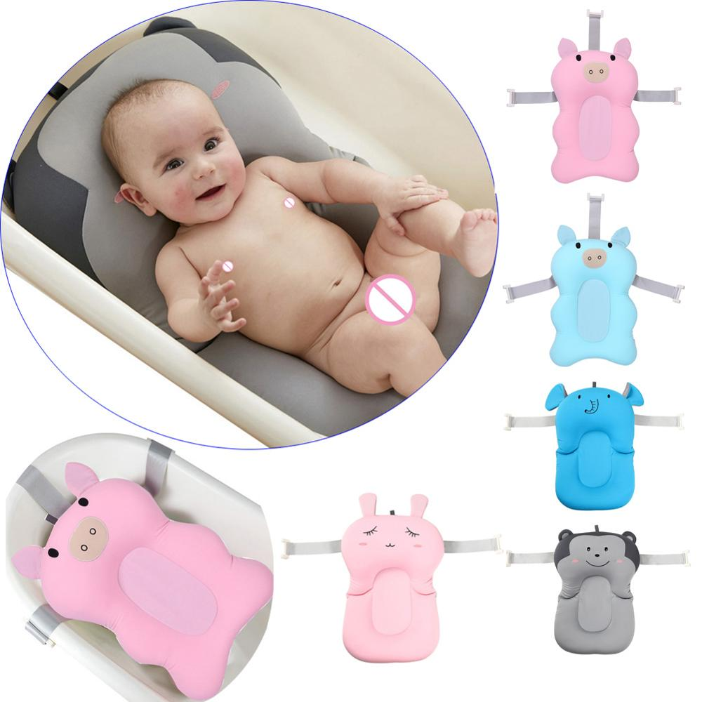 Cartoon Baby Shower Bath Tub Non-Slip Foldable Baby Bathtub With Hooks Newborn BathSeat Infant Bath Support Cushion Soft Pillow