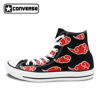 Naruto Converse Shoes Men Women Hand Painted Artwork Akatsuki High Top Unique Black Canvas Sneakers
