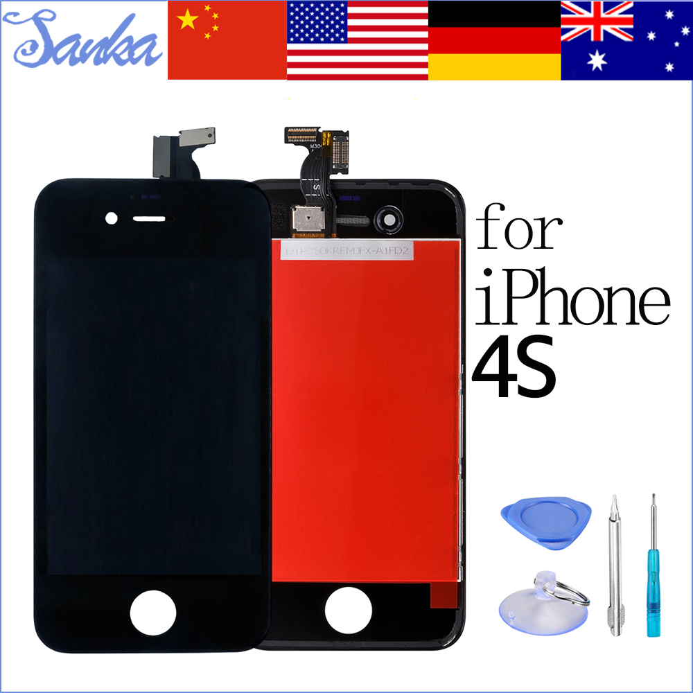 SANKA Black AAA Replacement For iPhone 4S LCD Screen Display Digitizer Touch Screen Mobile Phone PARTS Assembly &Tools