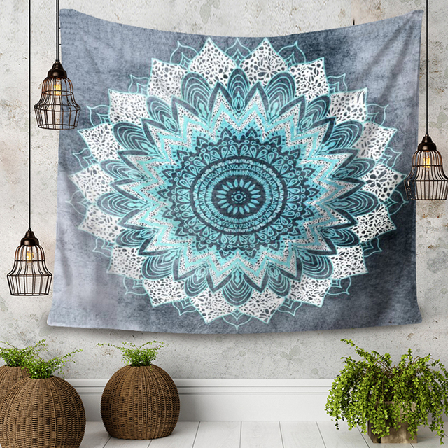 Bohemia Style Geometry Design Flower Decorate Tapestry Wall Hanging Blue  and Black Living Room Bedroom Rectangle Tapestry 1ad539b0a