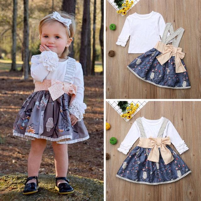 43f78c6d4 2Pcs Kids Baby Girl Dress Set Toddler Girls Long Sleeve Tops T shirt ...