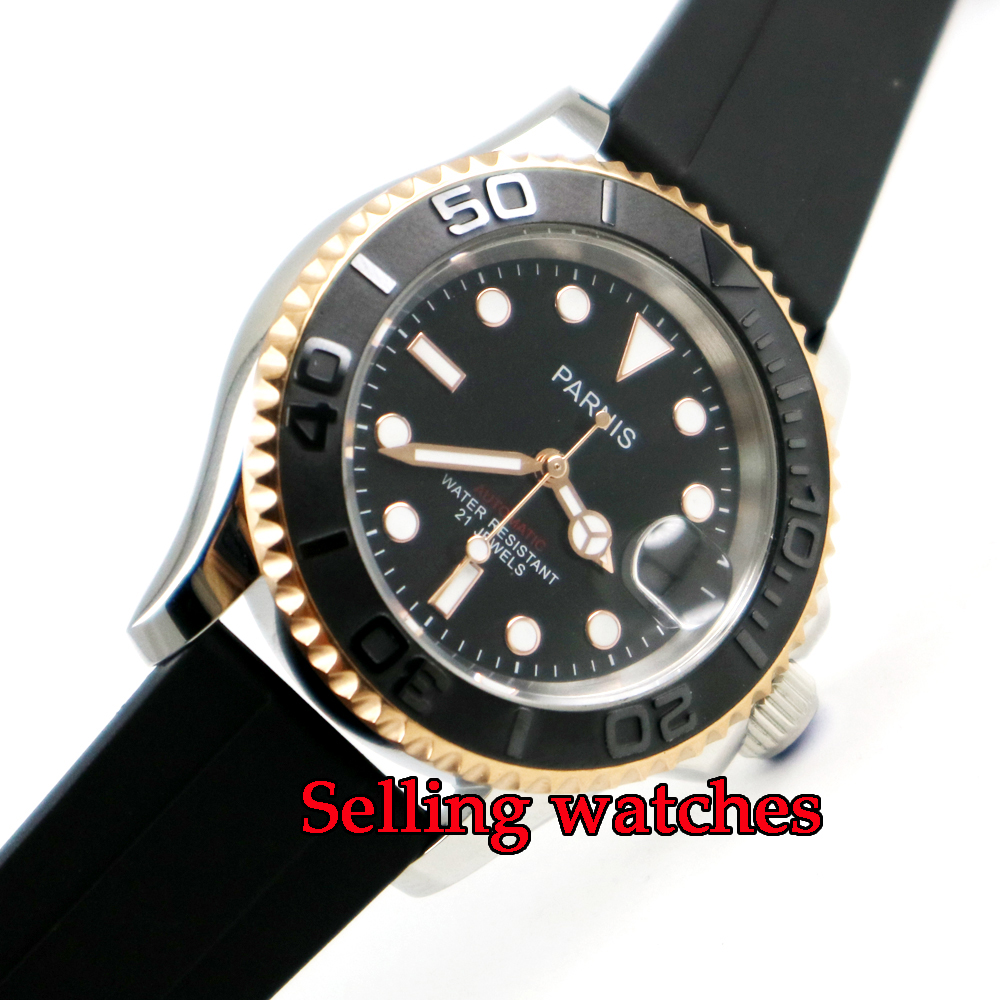 41mm Parnis black dial Sapphire glass golden case miyota automatic mens watch цена и фото