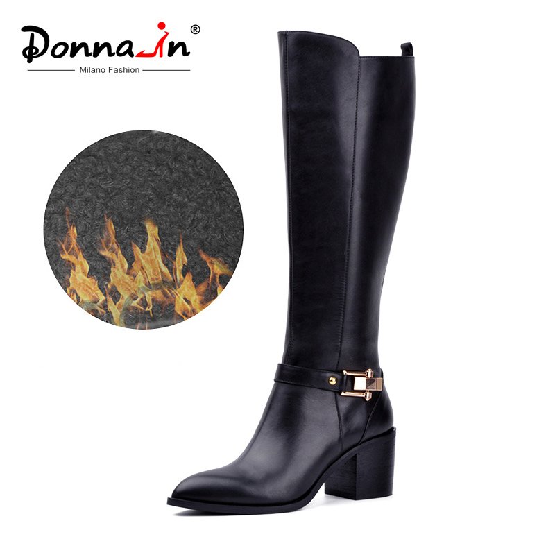Donna-in kniehoge laarzen Dames Winter echt leer Puntschoen Dikke hoge hak Metalen laarzen Rits Pluche Voering Dames Schoen