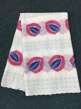 5 Yards/pc Hot sale white african cotton fabric with blue and fuchsia flower swiss voile lace embroidery for clothes BC11-1
