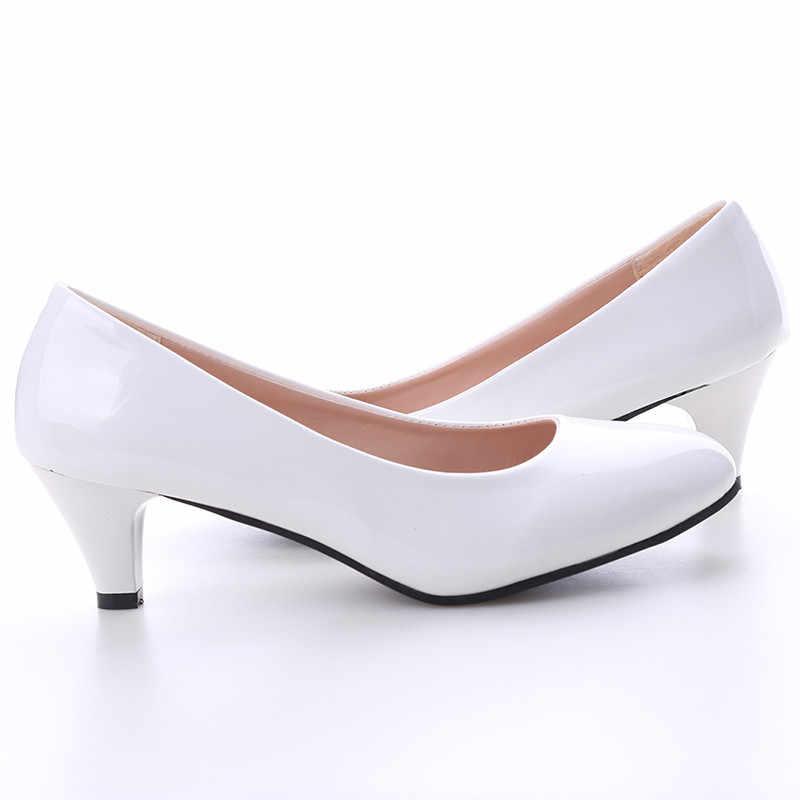 Buty damskie czółenka średni obcas Nude Sexy wysokie obcasy obuwie damskie praca w biurze białe czółenka obuwie imprezowe